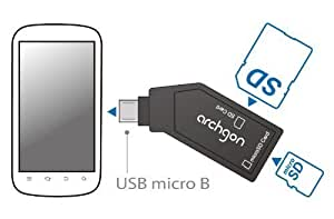 Archgon lettore di schede Micro-B OTG (SDHC | microSDHC | SDXC) Card Reader per Android smart phone e tablet