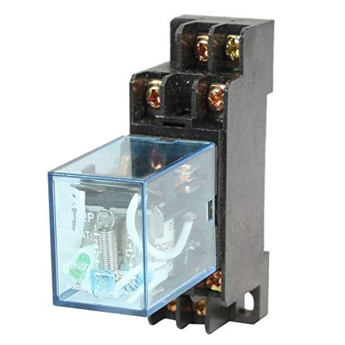HH52P Elektromagnetische Relais - TOOGOO(R)HH52P DC 24V Spule DPDT 8 Pins Elektromagnetische Leistungsrelais mit DYF08A Basis, schwarz + klar blau -