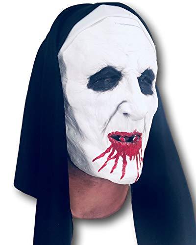 Maschera di suora spaventosa con sangue, johnnies in gomma, adulto, taglia unica, halloween evocare