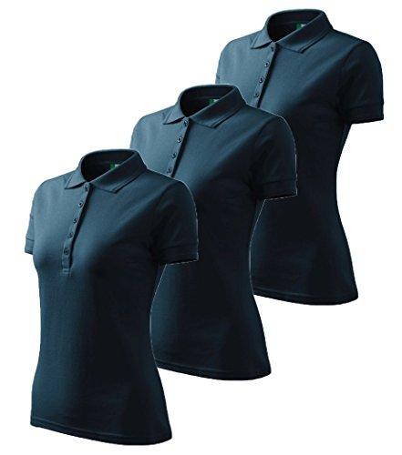 3er Pack Dress-O-Mat Damen Poloshirt T-Shirt Polohemd Tailliert Gr M marine blau (Marine-blau-damen Shirt)