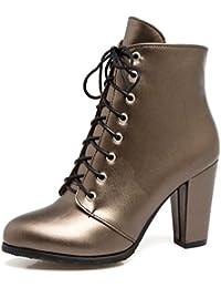 SHOWHOW Damen Knöchelhohe Stiefel Mit Absatz Schnürhalbschuh Schwarz 37 EU