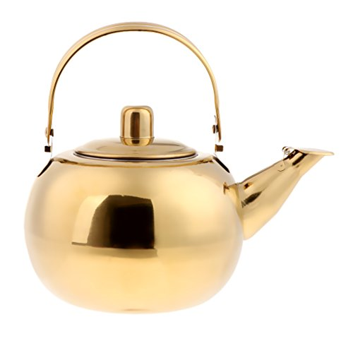P Prettyia Teekanne/Wasserkessel aus Edelstahl - Gold, 2L Gold Teekanne