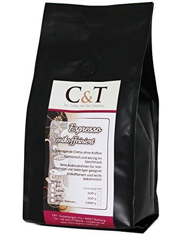 Kaffeebohnen Entkoffeiniert - UNSER ESPRESSO CREMA - 1000g Ganze Bohnen - für Kaffee-voll-automat,...