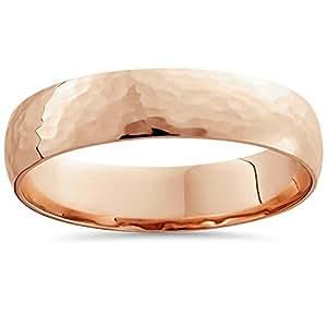 Pompeii3 Inc. Mens 14K High Polished Rose Gold Wedding Band Bridal Shiny Ring Classic 5MM Dome - 9.5