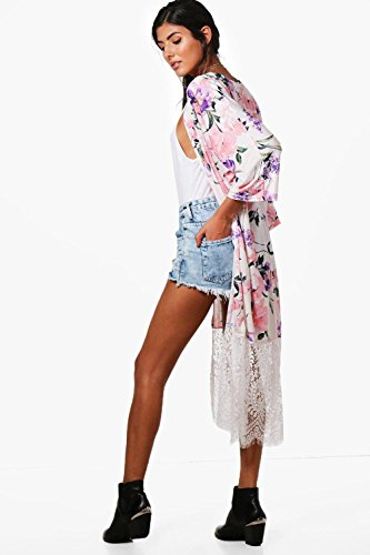 Damen Sahne Erin Kimono Mit Blumen-print Und Spitzensaum Sahne