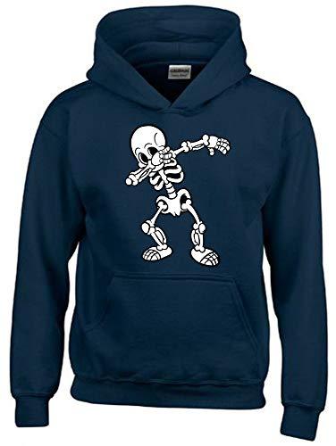 Dabbing Skelett 2C Hoodie Sweatshirt mit Kapuze Navy Gr.140 cm