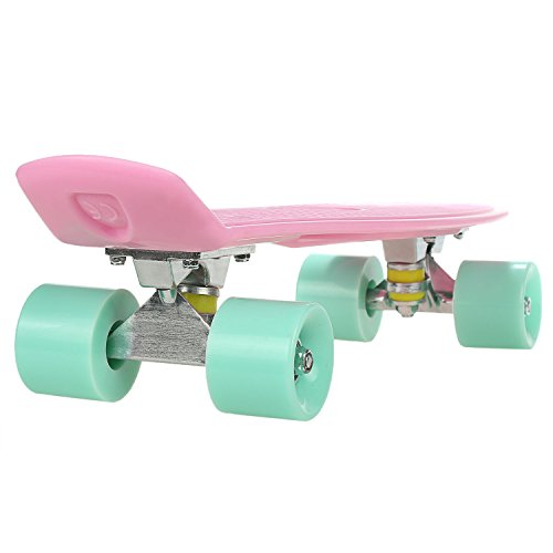 WeSkate 57cm Mini Cruiser board Skateboard mit stabilen Deck 4 PU-Rollen für Kinder, Jugendliche und Erwachsene -