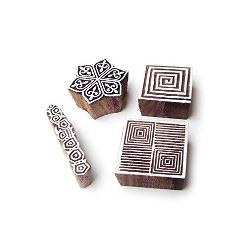 Spirale e Esagono Tradizionale Designs Legno Stampa