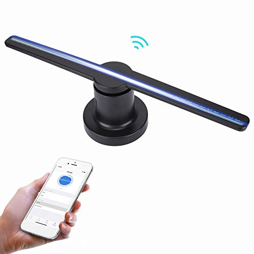 VBESTLIFE Hologramm-Projektor 3D, WiFi LED tragbarer Hologramm-Spieler 3D holographischer Dispaly-Fan,Hologramm Projektor Advisement Displayer mit Karte 8GB und 320 Lampenperlen.(EU) (Super-8-projektor)