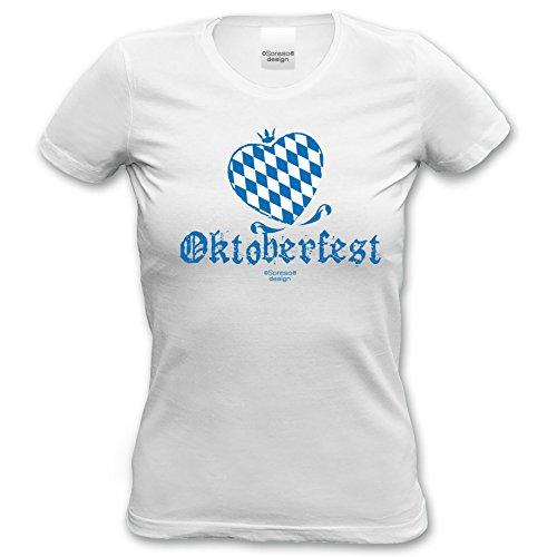 Damen T-Shirt Frauen Girlie kurzarm Trachten Oberteil :-: Party Outfit zum Volksfest Wiesn Dult Oktoberfest :-: Geburtstagsgeschenk Geschenkidee für Sie :-: Farbe: weiss weiß-02