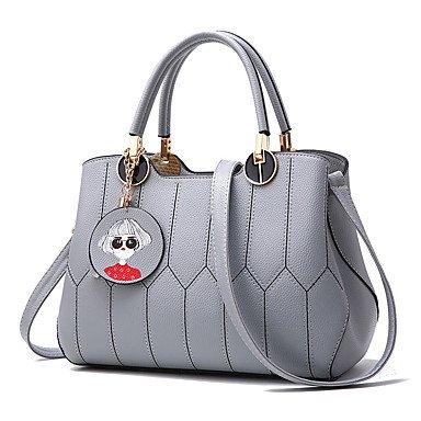 Damenmode Plaid PU Leder Messenger Umhängetaschen/Handtasche Tote Gray