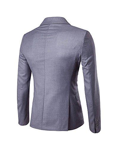 Slim Fit Uomo Casual One Button elegante vestito di affari cappotto giacca Blaze Grigio chiaro