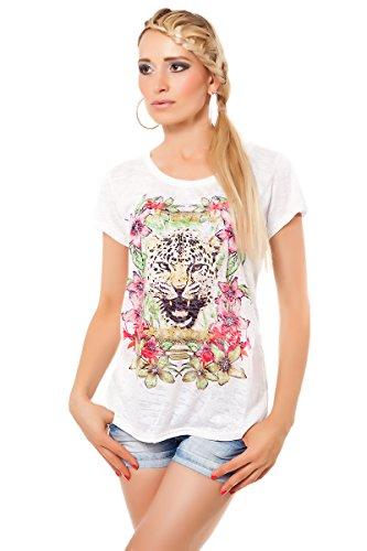 Patty Moon Damen Shirt Meliert Kurzarm Sommer Freizeit Look Tiger Print Motiv Strass (M=36, Weiß) (Tiger Strass Weiß Damen)