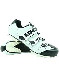LUCK Zapatillas de Ciclismo Matrix Revolution MTB, con una estupenda Suela de Carbono Muy Ligera y rígida y Triple Velcro para un Ajuste (44 EU, Blanco)
