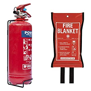 Fire Extinguisher Home Safety Kit with Fire Blanket & A2Z Fire Service Label. British Standard BSi Kitemarked, CE Approved & BS EN3 Rated. Premium 2kg Powder Extinguisher & Blanket Range with Full 5 Year Warranty that is the Perfect Fire Safety Kit for Home & Kitchen as well as Cars, Caravans, Boats, Campervans, Vans & Garages