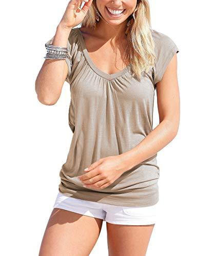 Uniquestyle Damen Sommer T-Shirt Kurzarmshirt V-Ausschnitt Lässige Stretch Falten Bluse Tops Oberteil Baumwollshirt Blickdicht Strandtop Brown XXL - V-neck Tunika Shirt