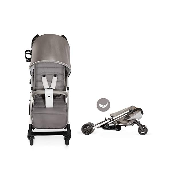 Hauck Vegas, Lightweight Pushchair with Lying Position, from Birth to 25 kg, Buggy with Cup Holder, Umbrella Fold Pushchair, Charcoal Hauck Easy folding - this comfort stroller can be folded away extra flatly making it suitable for almost any car boot; the buggy on travels and family trips Long use - this modern pushchair can be used for a long period of time: It is suitable From birth up to 25 kg Comfortable - with backrest and footrest adjustable into lying position, extendable hood with UV protection, soft padding, suspension, swivelling front wheels and ergonomically shaped push handles 5