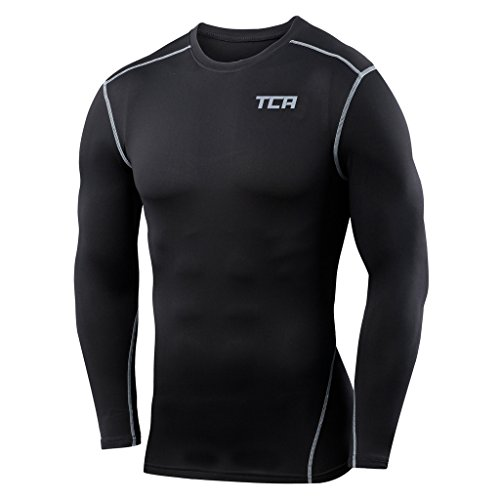 Mens & Boys TCA Pro Performance Compression Base Layer Long Sleeve Thermal Top - Black Stealth - Large