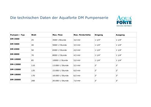 Teichpumpe Aquaforte DM 3500 energiesparende, leistungsstarke Filterpumpe mit Keramikachse, meerwassergeeignet, mit Trockenlaufschutz, ideal für den Koiteich, Gartenteich, Bachläufe und Fontänen, 3500L /h, 25W, von Tomodachi -