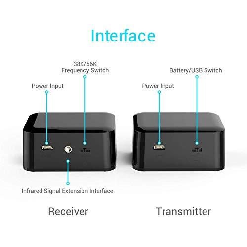 PAKITE IR Remote Extender,Infrarrojo del repetidor Extensor para Expansión - 1 Receptor 1 Transmisor Fuente de alimentación USB para PC DVD Sky PS3 PS4 y receptores