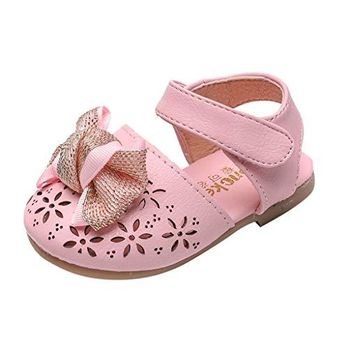 LILIGOD Babys Kleinkind Schuhe Sommer Baotou Sandalen Bowknot Elegante Sandalen Mädchen Prinzessin Schuhe Flache Aushöhlen Sandalen Klettverschluss Einzelne Schuhe Party ()