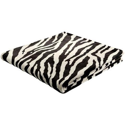 B@Home Biederlack King-Fleece Druck - Manta (forro polar, 1,5 x 2 m), diseño de cebra