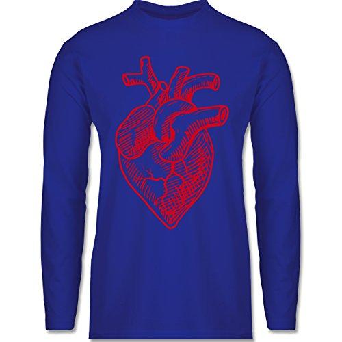 Shirtracer Statement Shirts - Organisches Herz Motiv - Herren Langarmshirt Royalblau