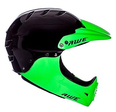 AWE FREE 5 YEAR CRASH REPLACEMENT* BMX Full Face Helmet Black Green Large 58-60cm by AWE®