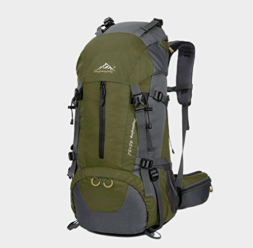 Wanderrucksack, 50l (45+5), Nylon, wasserdicht, geeignet für Wandern, Camping, Angeln, Radfahren, Skifahren armee-grün