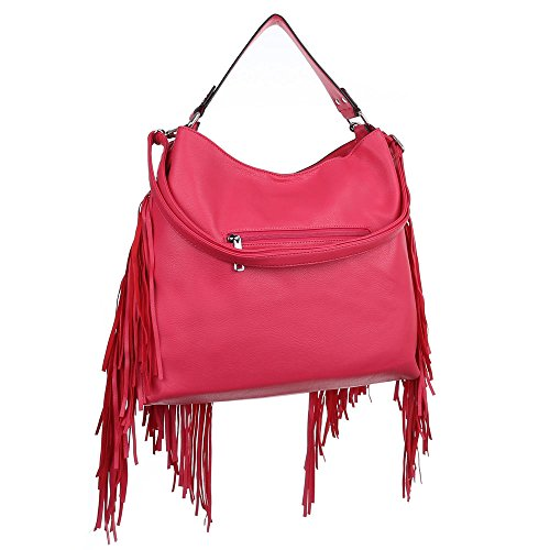 Damen Tasche, Große Handtasche Mit Fransen, Kunstleder, TA-7035-599 Pink