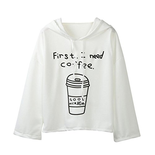 Tonsee® Femmes à Manches Longues Lettre Impression -First I Need Coffee- Sweat à Capuche Pullovers Blanc