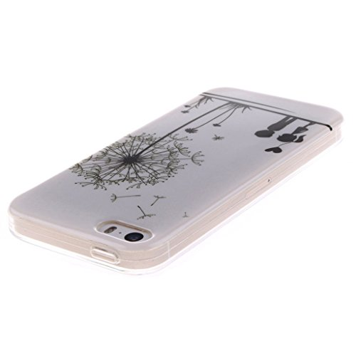 Coque iPhone 5s,Housse iphone 5, Hamyi Etui Souple Slim TPU Silicone Bumper pour Apple iPhone 5 et iPhone 5s (Lion) Pissenlit Lovers