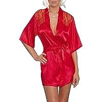 Pinkyee Damen-Satinbademantel / Nachthemd mit Spitze, sexy Dessous