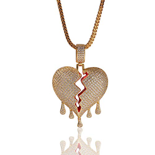 �r Männer, Frauen, Voll Bling Blase Gebrochenes Herz Anhänger Halskette, Vergoldet AAA-Zirkon, 18