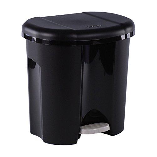 *Rotho 1760108080 Abfalleimer Duo, Mülleimer mit zwei Abfallbehältern zum Mülltrennen, 2x 10 L, Plastik, schwarz, 39 x 32 x 40 cm*