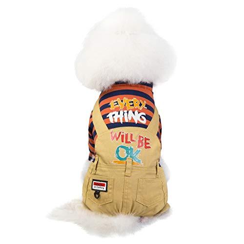 Smniao Hunde Sweatshirt für Kleine Mittel Hunde Vier Beine Jacke Streifen Wintermantel Hundebekleidung Hundepullover Sweater S-XXL (M, Orange)