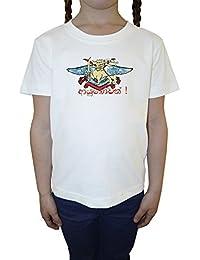 Dragón con espada Blanco Algodón Niña Niños Camiseta Manga Corta Cuello Redondo Mangas White Girls Kids T-shirt