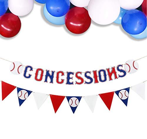 KEFAN 2 Sätze Baseball Banner Flagge mit Luftballons Jungen Baseball Thema Geburtstagsfeier Dekoration Sport Party Supplies (CONCESSIONS)