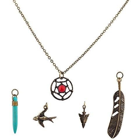 Lux accessori Dreamcatcher turchese amuleto Colomba Uccello Motivo Freccia intercambiabili Set collana