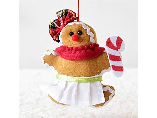 Xinjiener Weihnachten Lebkuchen Ornament Puppe Christmas Eve Ornament (Krücke) für Weihnachten Deko Party Festen (Farbe : Brown, Größe : 17x13cm)