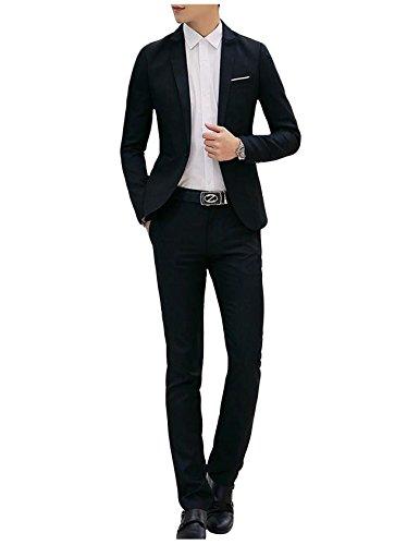 Jueshanzj Herren 2-Teilig Anzüge Freizeit Anzugjacke mit Anzughose Anzug set Schwarz XXXL