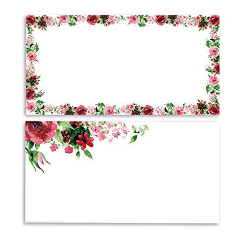 Briefkarten Set Rose I 50 Blatt in DIN lang mit Umschlag I vintage Blume I Einladung Geburtstag Valentinstag Hochzeit Liebe I dv_442