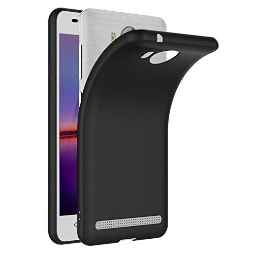 Conie Basic Backcover kompatibel mit Huawei Y3 II, Schwarze Silikon Schutzhülle sturzsichere Hülle aus TPU Anti Fingerprint Rückschale