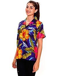 King Kameha | Funky Chemise Hawaïenne | Dames | XS - 6XL | Manches Courtes | Poche Avant | Hawaii-Print | Grande Fleur | Bleu