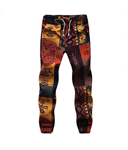 Pantalon Lino Hombre Fashion Flores Estampado Vintage Etnicas Estilo Casuales con Cordón Pantalones Hippies