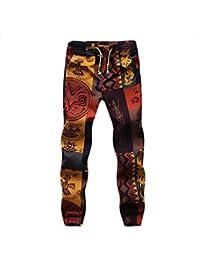 5e4539aa02 BOLAWOO Pantalon Lino Hombre Fashion Flores Estampado Vintage Etnicas  Estilo Casuales con Cordón…