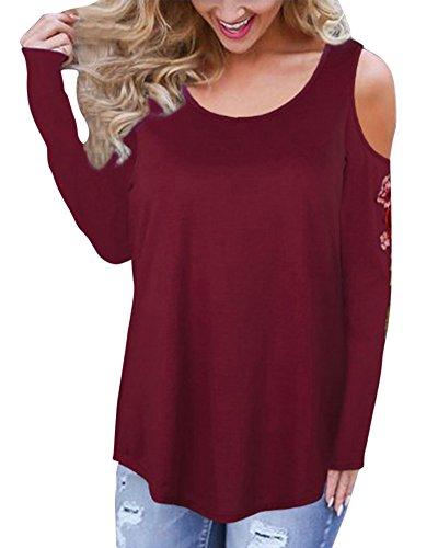 Donna girocollo manica lunga blusa t shirt senza spalline tops maglietta pullover camicetta bodeaux l