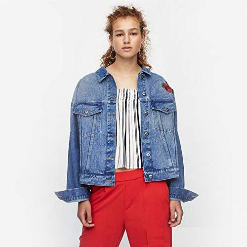 ZVHUK Lose Retro-Stil Kurze Blaue Jeansjacke Gesticktes Muster Bluse Lässig Frauen Herbst Jeansjacke Lose Dünn,Blau,S - Retro-stil-kurze