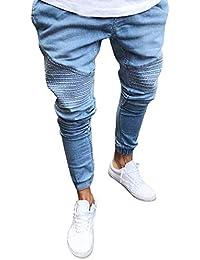 Bestow-pantalones de Mezclilla Ajustados de Color sólido para Hombres  Pantalones para Hombres Vaqueros Pitillo ecef65ec48b