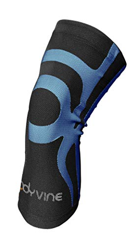 BODYVINE Unisex - Erwachsene Triple 3-Lagen Kompressions Knie Bandage mit Power-Band Compression Taping, Blau, XXL